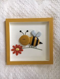 Bumble bee framed pebble art, bumble bee decor Bumble bee pebble art, bumble decor for nursery or ki Pebble Painting, Pebble Art, Stone Painting, Stone Crafts, Rock Crafts, Arts And Crafts, Rock Painting Patterns, Rock Painting Designs, Button Art