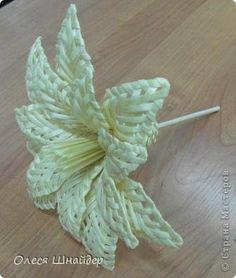 Поделка изделие Плетение Цветок из соломки  мастер-класс Соломка фото 2 newspaper weaving lily