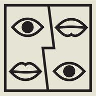 Agrupación por semejanza. A pesar de que no se encuentra una cara perfectamente establecida, con solo ver los ojos y las bocas sabemos de que es lo que se trata la imagen.