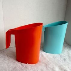 Vintage Orange and Blue Pitchers by vintagepoetic on Etsy