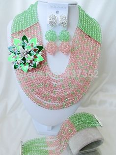 Lovely Light Green Peach Color Crystal Costume Necklaces Nigerian Wedding African Beads Jewelry Sets Free shipping NC976 $48.15
