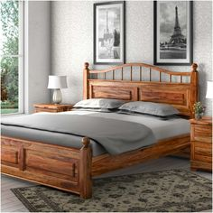 Colonial Rail Top Solid Wood Platform Bed Frame The post Colonial Rail Top Solid Wood Platform Bed Frame appeared first on Wood Ideas. Furniture, Wood Bedroom Sets, Log Bedroom Furniture, Bed Furniture, Wood Bedroom Furniture, Hardwood Bed, Wood Bed Design, Bedroom Bed Design, Wood Bedroom