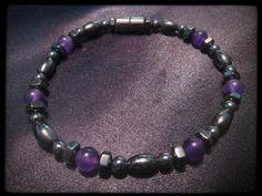 Purple Bead Pattern Single Magnetic Bracelet $14.00