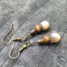 Mother of Pearl Bead with Bead Cap and Brown by TripIntoLight, $11.00