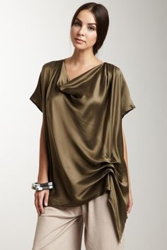 Charmeuse Drape Front Top