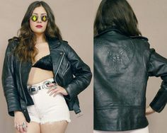 Black Leather Motorcycle Jacket EAGLE by GravelGhostVintage