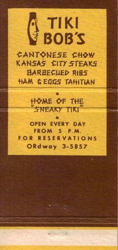 Matchbook from Tiki Bob's, San Francisco, CA