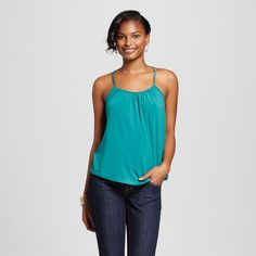 Women's Shirred Cami Windward Green Xxl - Merona