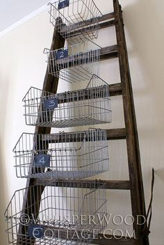vintage ladder and basket organizer - love this for anywhere in my house!!!