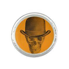 Orange Skull Derby Hat Ring