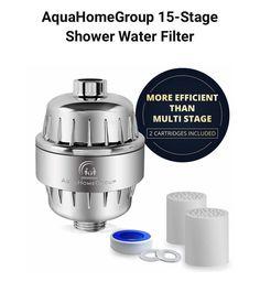 AquaHomeGroup 15-Stage Shower Water Filter #showerheadfilter #showerfilter #showerwaterfilter Shower Water Filter, Shower Head Filter, Best Bathtubs, Filters, Stage, Bottle, Flask, Jars