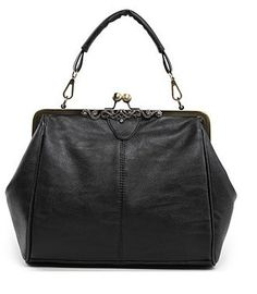 New Pop Vintage Kiss-Lock Shoulder Tote Purse HandBags