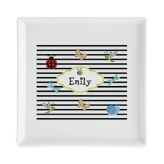 Personalize it! Buggles and Stripes Square Cocktail plate  -see other products with this fun and colorful critters design in our shops www.cafepress.com/drapestudio and www.zazzle.com/drapestudio and www.etsy.com/shop/drapestudio and www.drapestudio.com for fabric and all other fun things!
