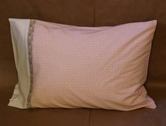 Set of 2 Standard Pillowcases  Pink and Grey by palindromedrygoods on Etsy