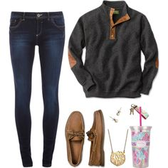 Sperry top-sider, j.crew and lilly pulitzer monday outfit, casual weekend o Adrette Outfits, Preppy Outfits, Ladies Outfits, Batman Outfits, Rock Outfits, Fashion Outfits, Polyvore Outfits, School Outfits, Preppy Mode