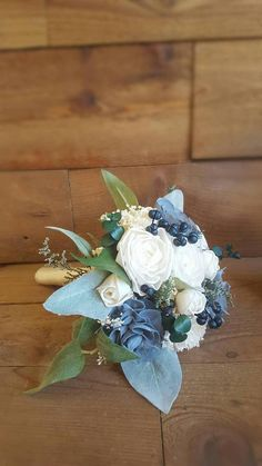 Navy Sage Dusty Slate Steel Blue Sola Flower Bouquet and dried Flower Stella Designs Style 43 - Wedding bouquets - Homecoming Flowers, Prom Flowers, Blue Wedding Flowers, Wedding Colors, Bridal Bouquet Blue, Flower Bouquet Wedding, Bridesmaid Bouquet, Blue Bridal, Bridesmaids