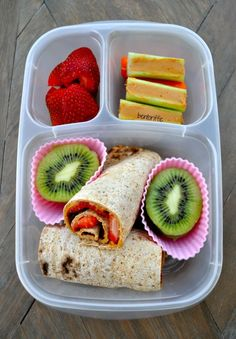 Strawberries and almond butter roll ups   packed in /easylunchboxes/ containers via Bentoriffic