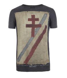 Crossed Cut Collar Crew T-shirt, Men, Graphic T-Shirts, AllSaints Spitalfields