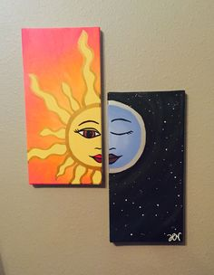Sun and moon matching canvas paintings. Unique beginner painting idea.