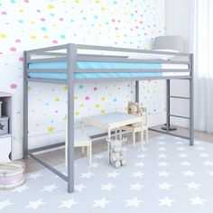 Max Metal Junior Loft Bed - Blue - Room and Joy Size: Twin. Junior Loft Beds, Low Loft Beds, Banquette Convertible, Silver Room, Futon Bunk Bed, Twin Futon, Loft Bed Frame, Bouclair, Bed Dimensions