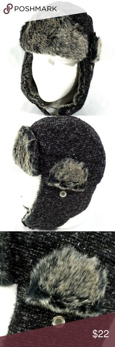 95e6437aa002a Knitted Style Black Bomber Trapper Hat OSFM This posting is for a Womans  Ladies Winter Warm