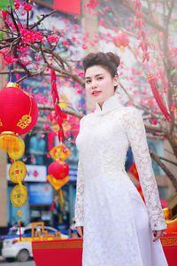 wedding  ao dai vietnamese traditonal long dress  lace white   eBay