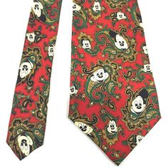 c97b51ee4539 Disney Hidden Mickey Mouse Red Paisley Necktie from Balancine, The Tie  Works. Mickey peeks out from green, gold and black paisley, on a red  background.