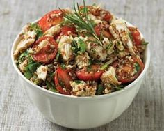 Chicken salad is a healthy mix of chicken breasts, quinoa, fresh herbs, olives and cherry tomatoes with a punchy horseradish dressing