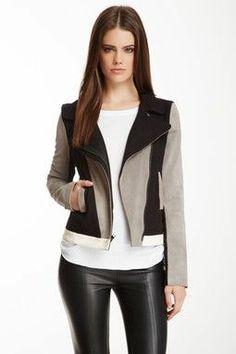 Suede & Leather Colorblock Moto Jacket