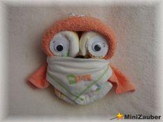 Windel-Mini-Eule (Diaper Owl, Diaper Cake, Baby Shower, Babyshower, Windeltorte, Windelfigur, Windeltier, Geburtsgeschenk)