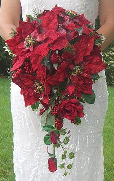 Shape of my bouquet. Flowers are red and white Poinsettias with white roses.
