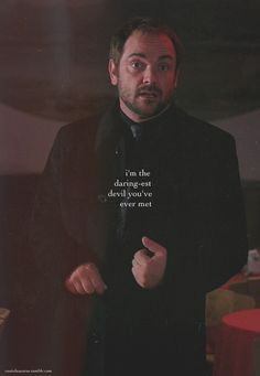 Supernatural - If something ever happened to Crowley, or if he left the show, I know many would be upset. As tough as he is, I bet he really has a soft spot for the boys. Kind of like a big brother - only he can torment them. Crowley Supernatural, Supernatural Bloopers, Supernatural Imagines, Supernatural Wallpaper, Supernatural Seasons, Castiel, Supernatural Tattoo, Winchester Boys, Winchester Brothers
