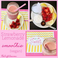 Strawberry Lemonade Smoothie {Vegan} | NutriFitMama