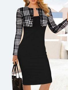 Plaid Long Sleeves Sheath Dress Elegant Round Collar Plaid Splicing Long Sleeve Dress For Women Trendy Dresses, Elegant Dresses, Cute Dresses, Short Dresses, Fashion Dresses, Dress Long, Chiffon Dresses, Sleeve Dresses, Dress Prom