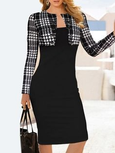 Charming Houndstooth Breasted Patchwork Fake Two-piece Bodycon-dress Bodycon Dresses from fashionmia.com