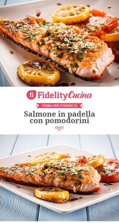Pan-fried salmon with cherry tomatoes – Chicken Recipes Fish Recipes, Seafood Recipes, Chicken Recipes, Cooking Recipes, Healthy Recipes, Cena Light, Pan Fried Salmon, Fish Dishes, International Recipes
