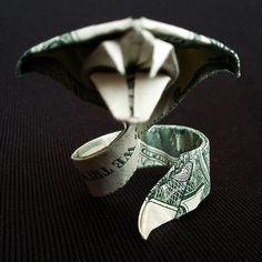 Origami Sculpture COBRA 3D Art Gift Money Snake Figurine Handmade out of Real 1 Dollar Bill