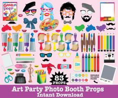 Art Party Photo Booth Props - Rainbow Party, Painter Party, Artist Party - $7.99