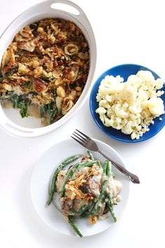 If you want to make green beans the healthy way, this recipe is it. This healthy green bean casserole is dairy free and made with mushrooms and a creamy, garlic cauliflower sauce. Topped with crispy onions, this dish is sure to please! Healthy Green Bean Casserole, Healthy Green Beans, Cooking Green Beans, Entree Recipes, Dinner Recipes, Dairy Recipes, Creamy Cauliflower Sauce, Dinner Dishes, Dinner Table