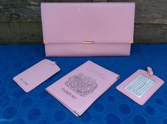 Leather Travel Document Wallet + Passport Holder + 2 Luggage Tags Baby Pink in Home, Furniture & DIY, Luggage & Travel Accessories, Travel Accessories | eBay