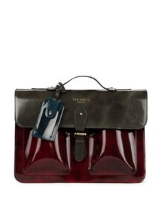 LEFONZ | Colour block leather satchel - Dark Red | Bags | Ted Baker