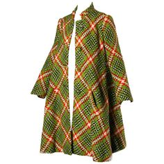 1960s Donald Brooks Vintage Green   Red Wool Plaid Swing Coat | From a collection of rare vintage coats and outerwear at https://www.1stdibs.com/fashion/clothing/coats-outerwear/