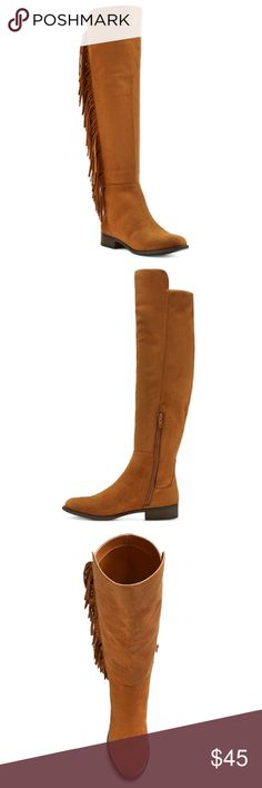 """NWT. Fringe knee high boots NWT. Fringe knee high boots. Features a super soft brushed finish with a fringe trim, cushioned insole, low heel, discrete half length zipper. About 1.25"""" heel, 14.5"""" shaft circumference, 19.5"""" shaft height. True to size. Comes in the original box. Sorry, no trades. Like the item but not the price, feel free to make me a reasonable offer through the offer button. Mossimo Supply Co Shoes Over the Knee Boots"""