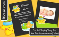 New Baby Star And Sleeping Teddy Bear Announcements (unisex) customize with your own text and photograph .. baby products from #Ricaso