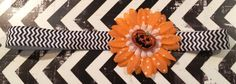 Happy Halloween Whimisical Headband embellished with silk flower & gilttered pumpkin.