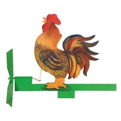 Rooster Whirligig Plan The best part about this rooster is he won't wake you up at the crack of dawn! When the wind blows his head bobs up and down and he appears to be crowing. A fun whirligig to wat
