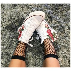 Rose Embroidery Hi Top Converse Floral Chucks SALE Coupon Code Inside ($95) ❤ liked on Polyvore featuring shoes, sneakers, white high top shoes, white hi tops, high-top sneakers, white high-top sneakers and embroidered sneakers