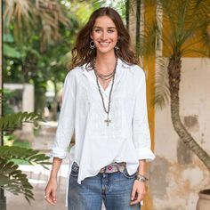 """ETHEREAL REALM TOP--Destined to be a favorite, the versatility of this embroidered top belies its intricate artistry with tonal details, mesh overlays and ruched accents. Hi-lo hem with side slits. Cotton. Machine wash. Imported. Exclusive. Sizes XS (2), S (4 to 6), M (8 to 10), L (12 to 14), XL (16). Front approx. 26-3/4""""L."""