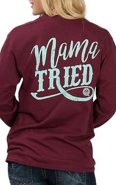 Girlie Girl Originals Women's Maroon Mama Tried L/S T-Shirt | Cavender's