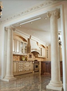 Kitchen To Den Ideas Using Columns Ionic Marble In Traditional Toronto